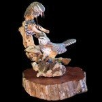 Cactus Wren Pair Wood Carving