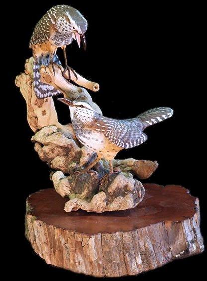 Cactus Wren Pair Wood Carving
