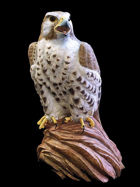 Prairie Falcon on Red Rock Perch Wood Carving