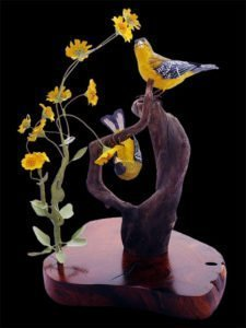 """Spring Blooms"" Bird Carving"