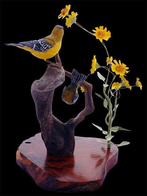 """""""Spring Blooms"""" Bird Carving"""