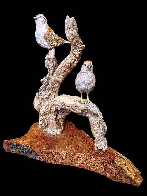 """Perfect Perch"" Chipping Sparrow Pair"