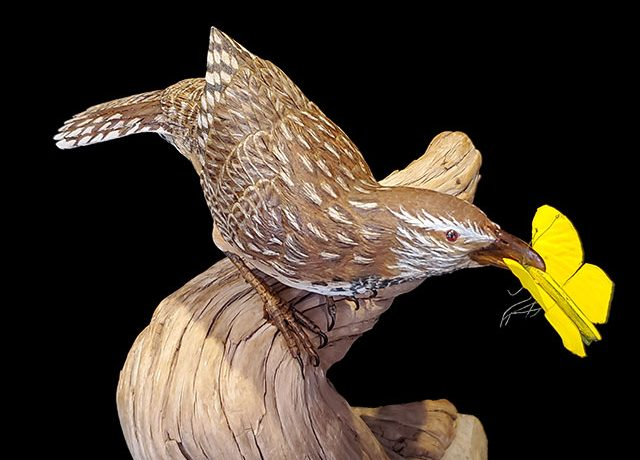 """""""Caught"""" Life-size Cactus Wren and Yellow Sulfur Butterfly"""